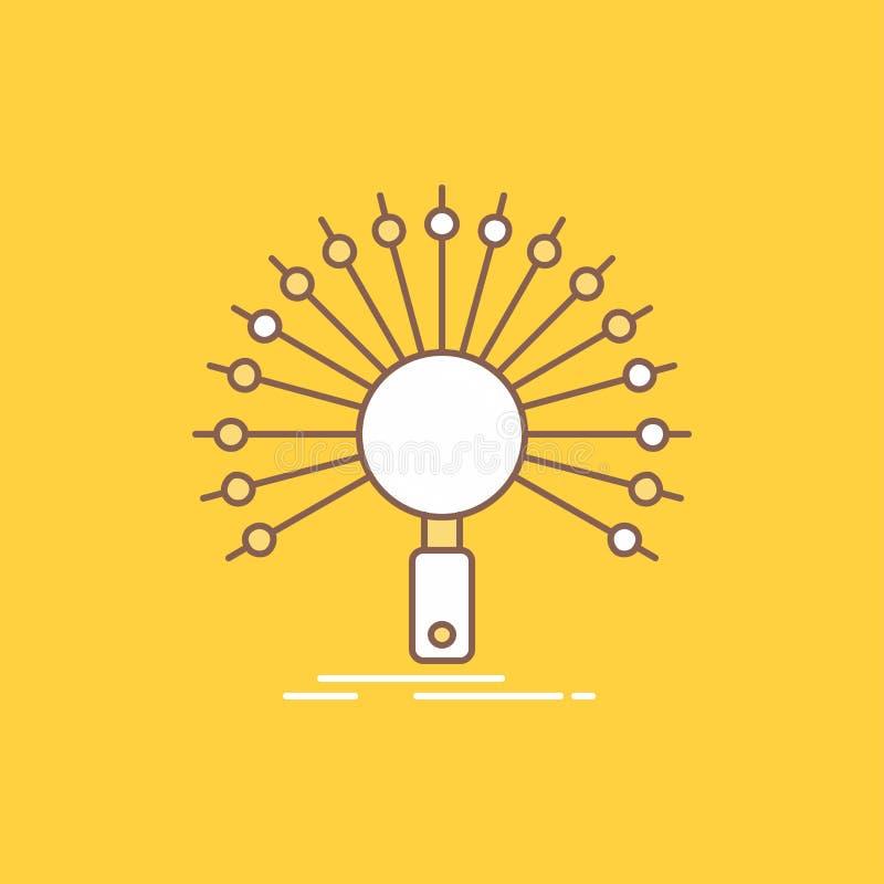 Данные, информация, информационная, сеть, линия возвращения плоская заполнили значок Красивая кнопка логотипа над желтой предпосы иллюстрация вектора