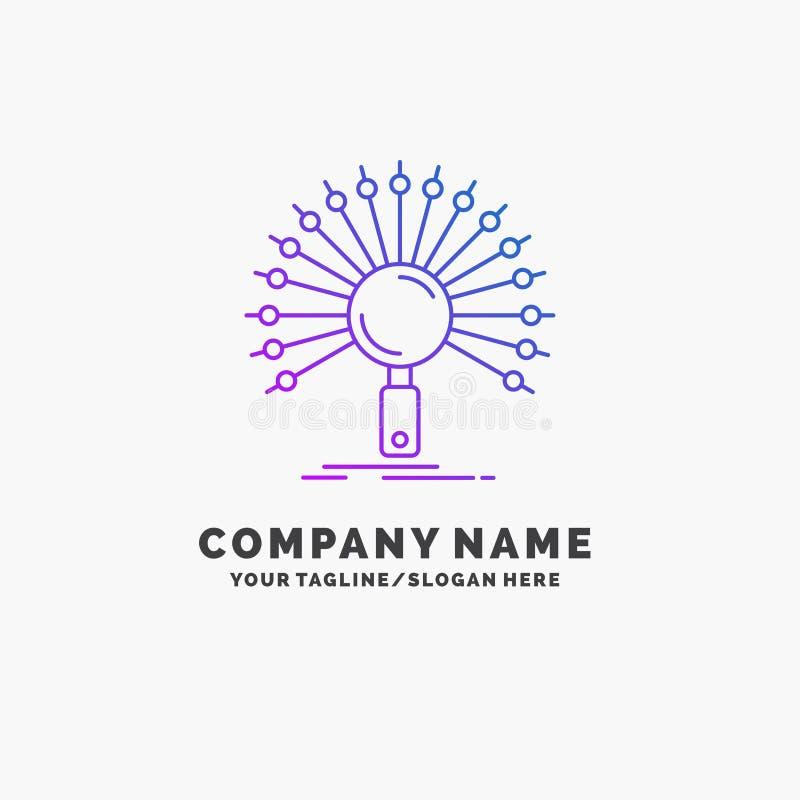 Данные, информация, информационная, сеть, шаблон логотипа дела возвращения пурпурный r иллюстрация вектора