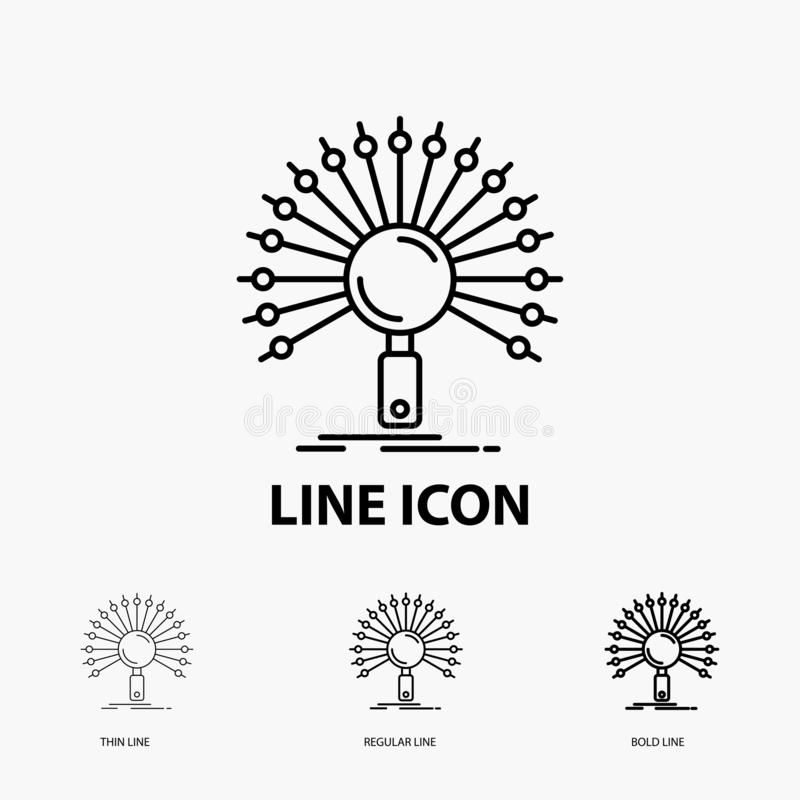 Данные, информация, информационное, сеть, значок возвращения в тонкой, регулярной и смелой линии стиле r бесплатная иллюстрация
