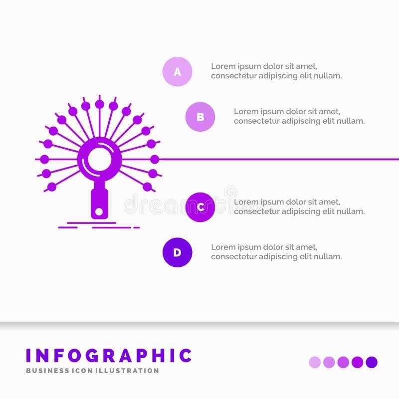 Данные, информация, информационное, сеть, шаблон Infographics возвращения для вебсайта и представление Значок глифа пурпурный иллюстрация вектора