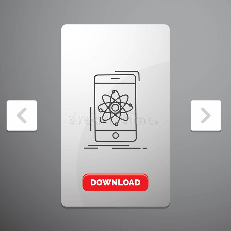 данные, информация, чернь, исследование, линия значок науки в дизайне слайдера пагинаций Carousal & красная кнопка загрузки иллюстрация вектора