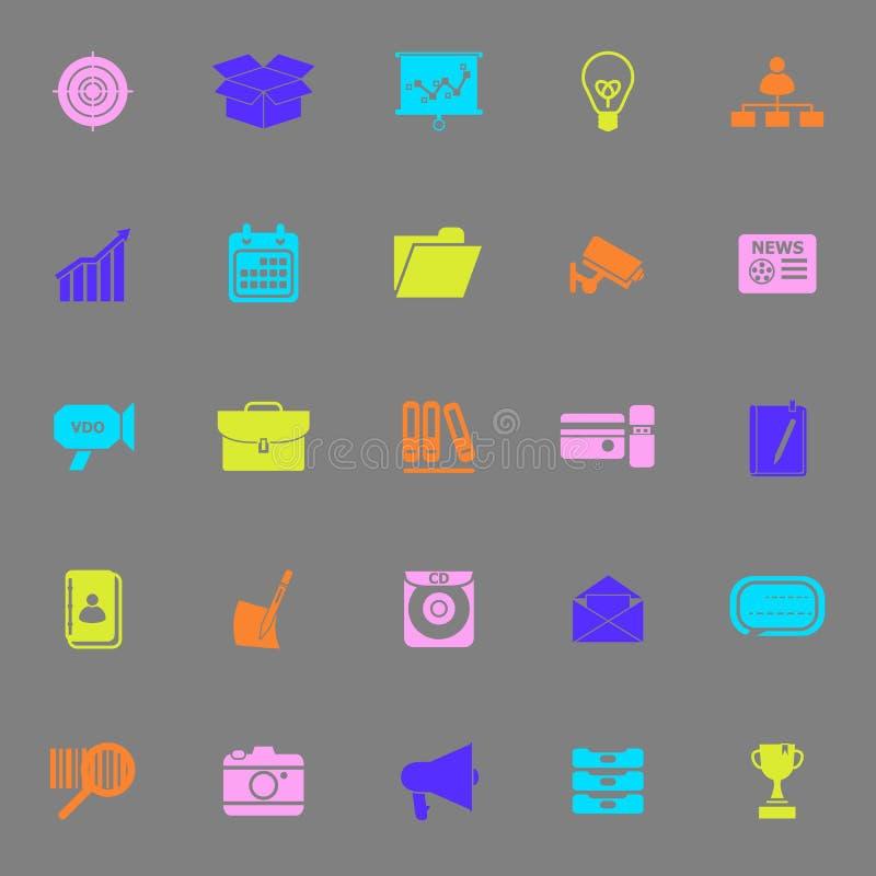 Данные и информация красят значки на серой предпосылке бесплатная иллюстрация