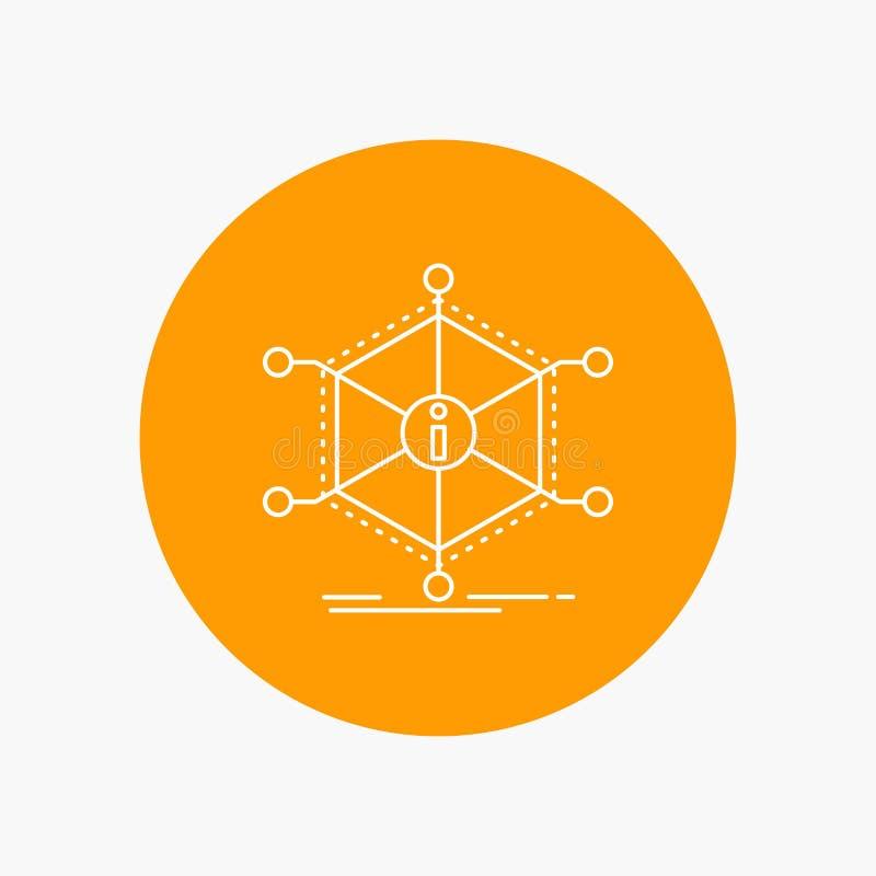 Данные, помощь, информация, информация, линия значок ресурсов белая в предпосылке круга r иллюстрация вектора