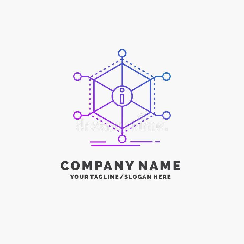 Данные, помощь, информация, информация, шаблон логотипа дела ресурсов пурпурный r иллюстрация вектора