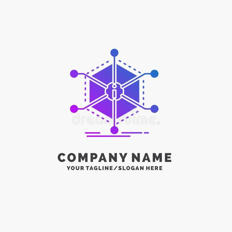Данные, помощь, информация, информация, шаблон логотипа дела ресурсов пурпурный r бесплатная иллюстрация