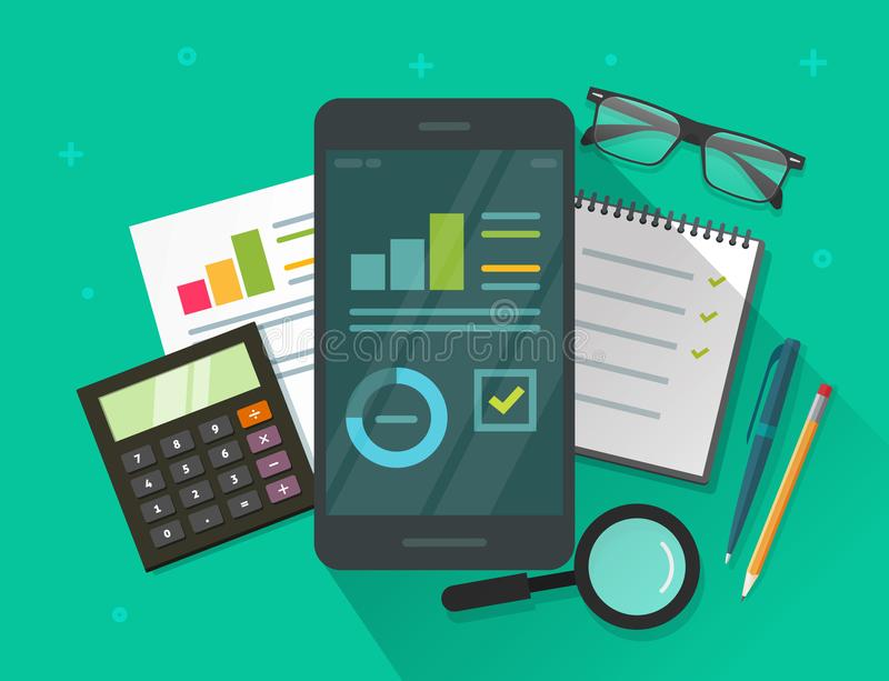 Данные по аналитика приводят к на иллюстрации вектора экрана и таблицы мобильного телефона, плоских данных по статистик шаржа иллюстрация вектора