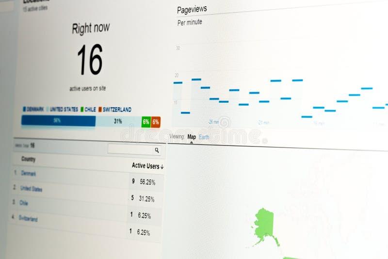 Данные по аналитика сети на мониторе компьютера стоковые фотографии rf