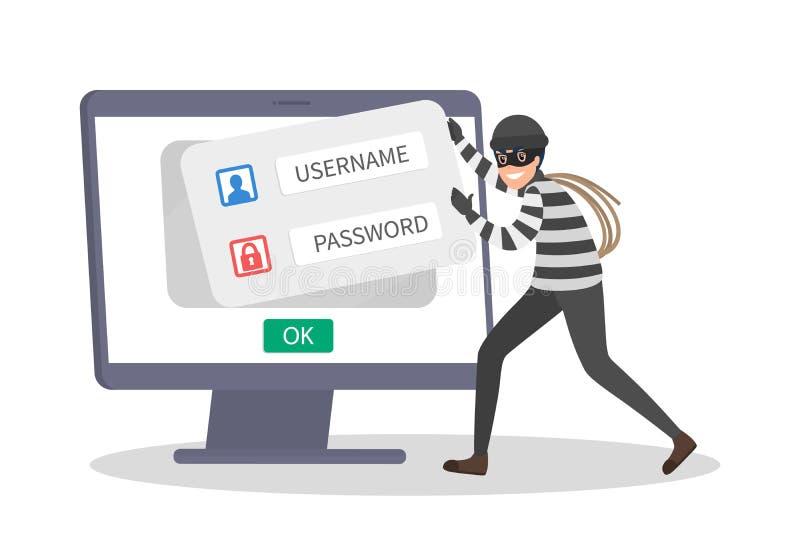 Данные по кражи похитителя личные с паролем Злодеяние кибер иллюстрация вектора