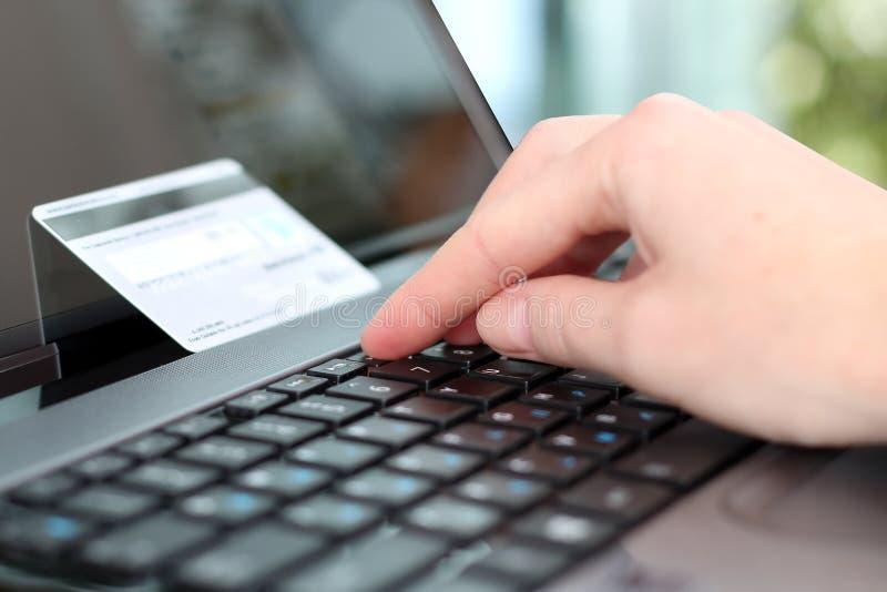 Данные по молодой бизнес-леди входя в кредитной карточки На-линия стоковые фотографии rf