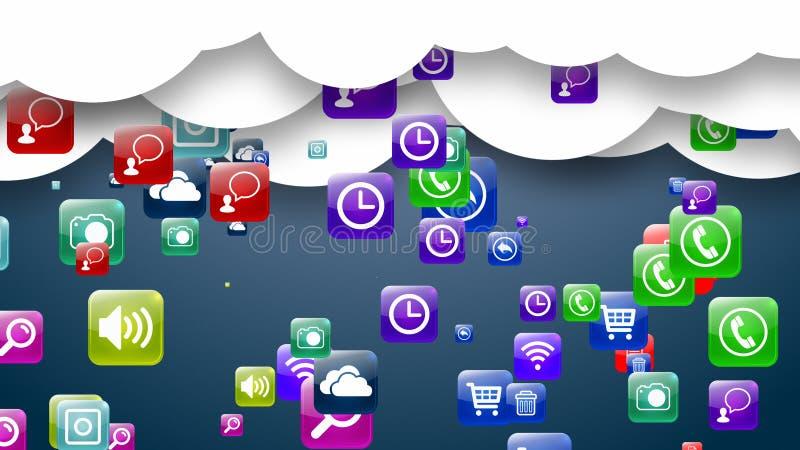 Данные по носителей записи облака архитектурноакустически Онлайн хранение данных иллюстрация 3d бесплатная иллюстрация
