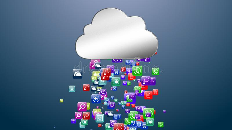 Данные по носителей записи облака архитектурноакустически Онлайн хранение данных иллюстрация 3d иллюстрация штока