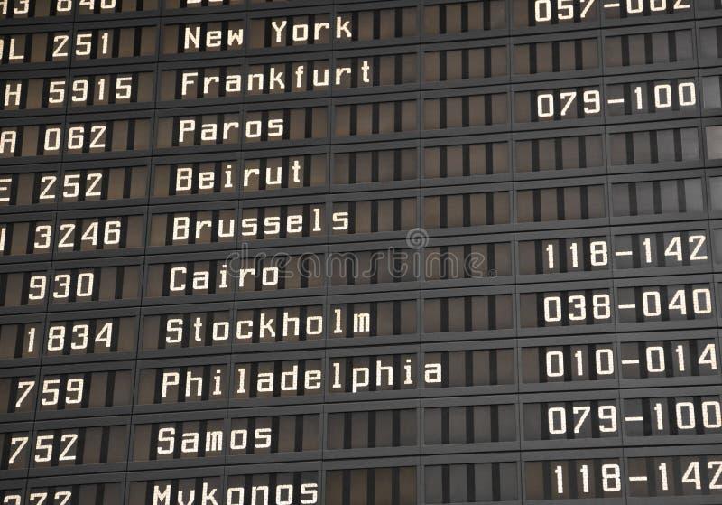 данные по полета доски авиапорта стоковая фотография