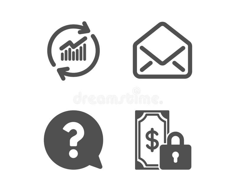 Данные по почты, обновления и вопросительный знак значки Частный знак оплаты Электронная почта, статистика продаж, помогает подде иллюстрация штока