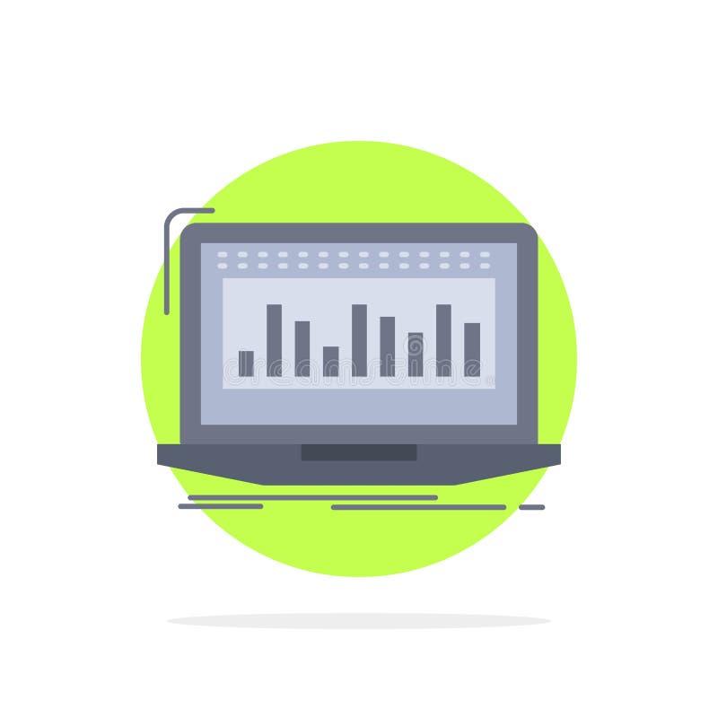 Данные, финансовые, индекс, контроль, вектор значка цвета запаса плоский иллюстрация вектора