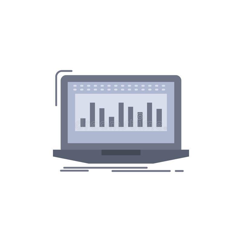 Данные, финансовые, индекс, контроль, вектор значка цвета запаса плоский иллюстрация штока