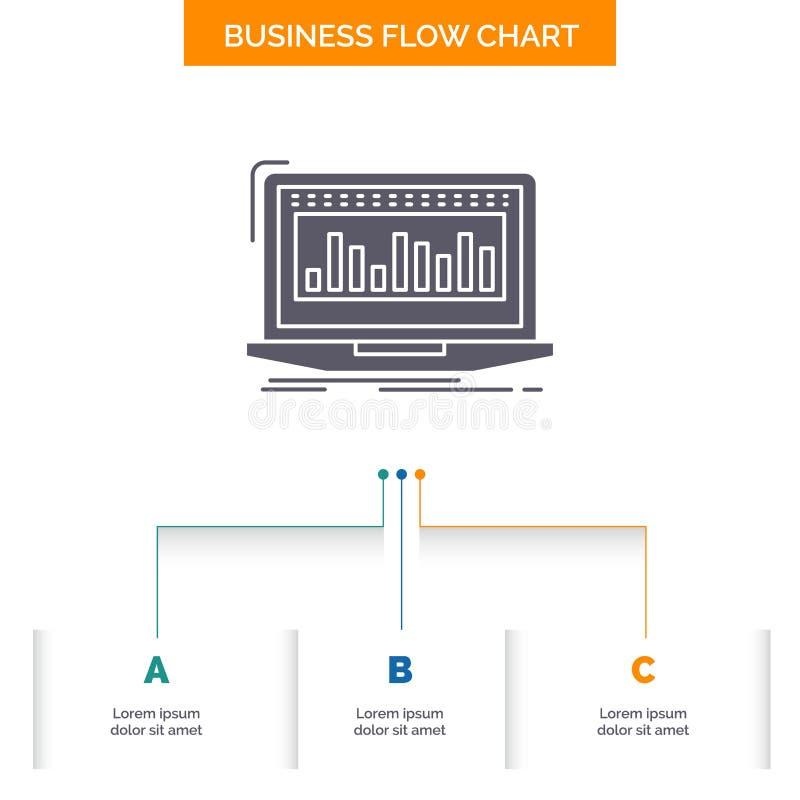 Данные, финансовые, индекс, контроль, дизайн графика течения дела запаса с 3 шагами r иллюстрация штока