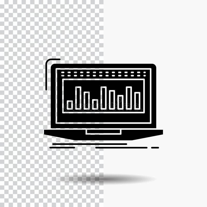 Данные, финансовые, индекс, контроль, значок глифа запаса на прозрачной предпосылке r иллюстрация штока
