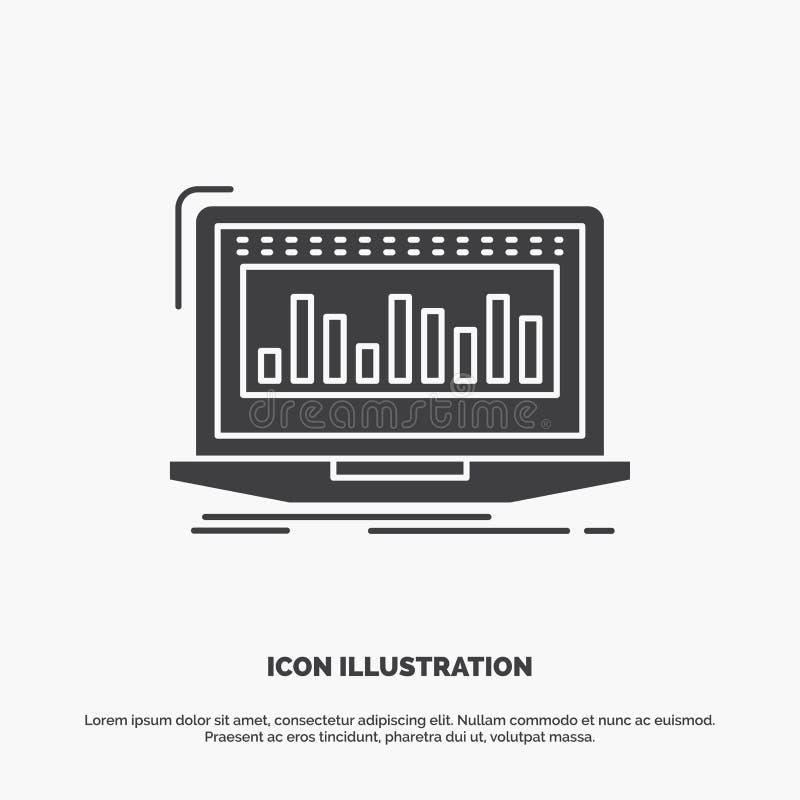 Данные, финансовые, индекс, контроль, значок запаса символ вектора глифа серый для UI и UX, вебсайта или мобильного применения иллюстрация вектора