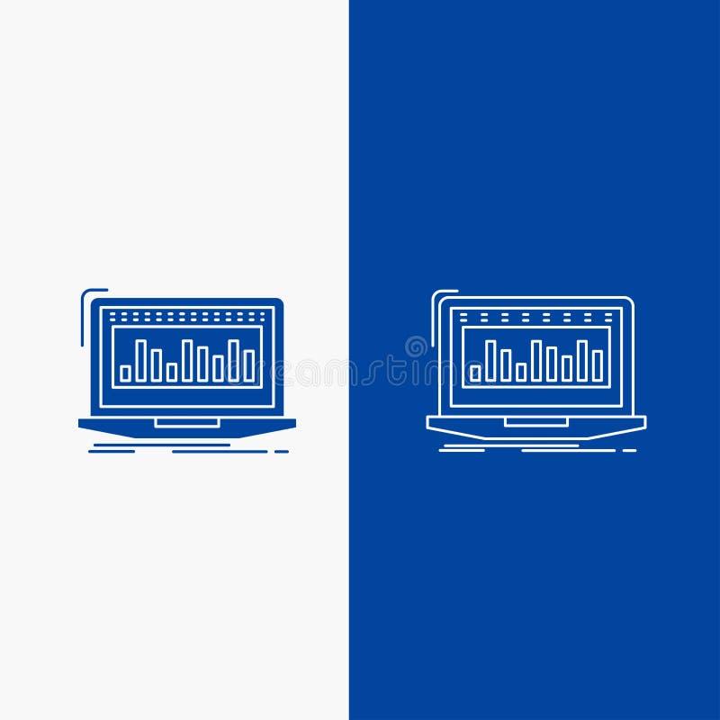 Данные, финансовый, индекс, контроль, ассортимент запасов и сеть глифа кнопка в знамени голубого цвета вертикальном для UI и UX,  иллюстрация вектора