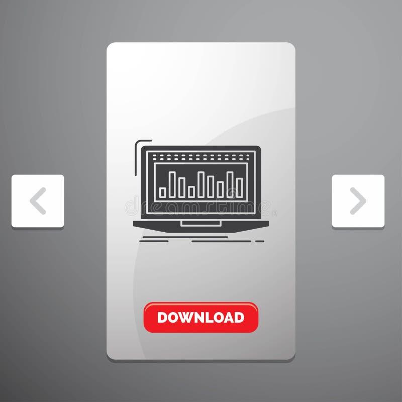Данные, финансовый, индекс, контроль, значок глифа запаса в дизайне слайдера пагинаций Carousal & красная кнопка загрузки бесплатная иллюстрация