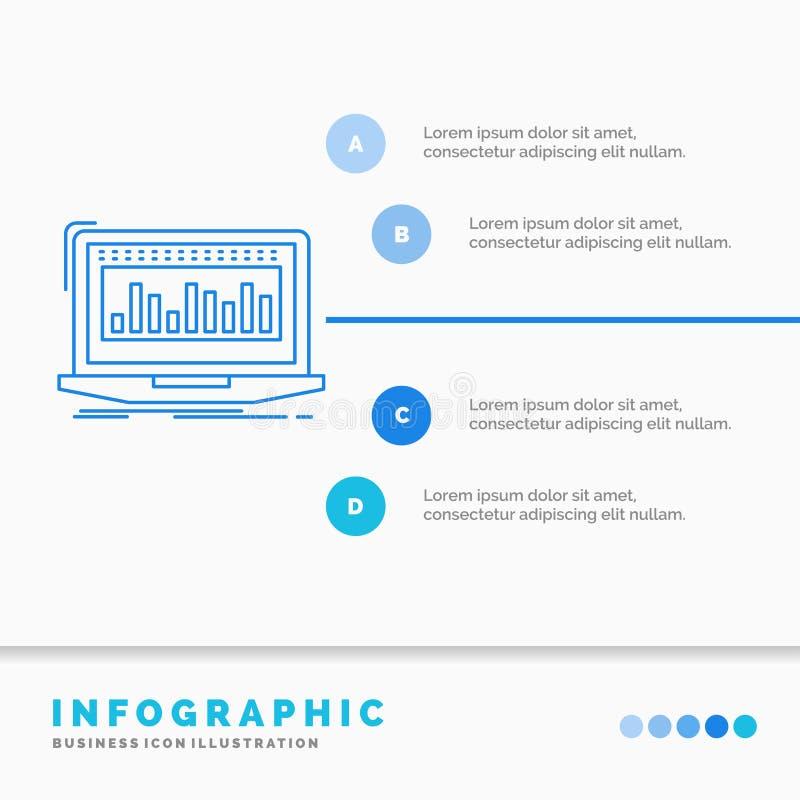 Данные, финансовый, индекс, контроль, шаблон Infographics запаса для вебсайта и представление Линия стиль голубого значка infogra бесплатная иллюстрация