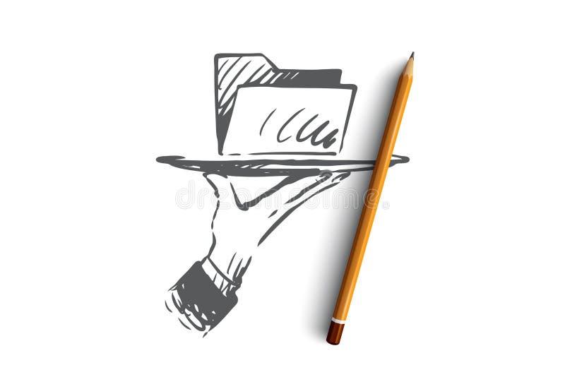 Данные, цифровые, информация, технология, концепция анализа Вектор нарисованный рукой изолированный иллюстрация вектора