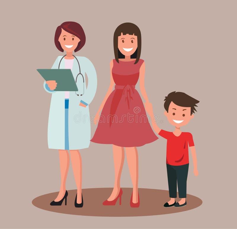 Дантист или доктор семьи Stomatologist и его усмехаясь пациенты бесплатная иллюстрация