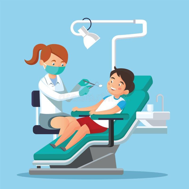 Дантист и пациент детей иллюстрация штока