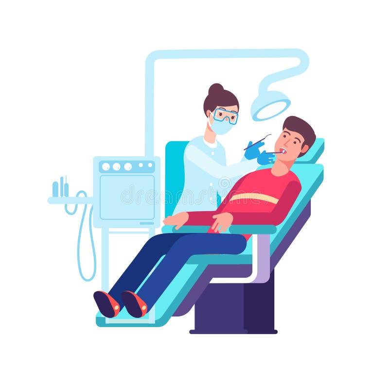 Дантист и пациент Доктор проверяя рот пациентов Концепция рассмотрения зубов и вектора зубоврачевания иллюстрация штока