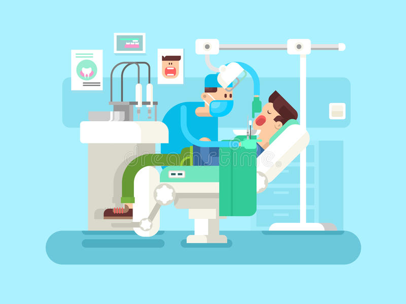 Дантист обрабатывает пациента иллюстрация вектора