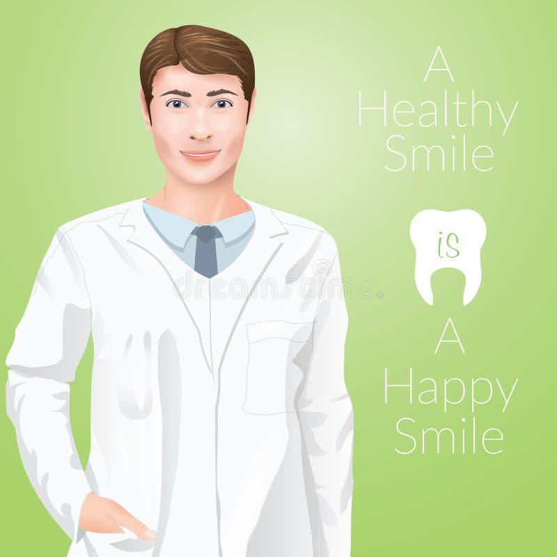 Дантист доктора stomathology человека Yang, в форме сотрудник военно-медицинской службы на зеленой предпосылке бесплатная иллюстрация
