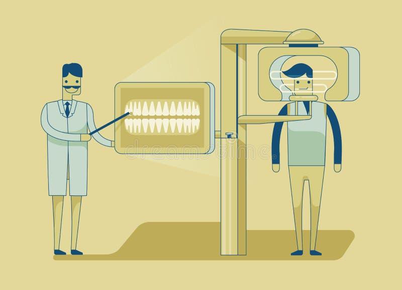 Дантист получая рентгеновский снимок зубов пациента бесплатная иллюстрация