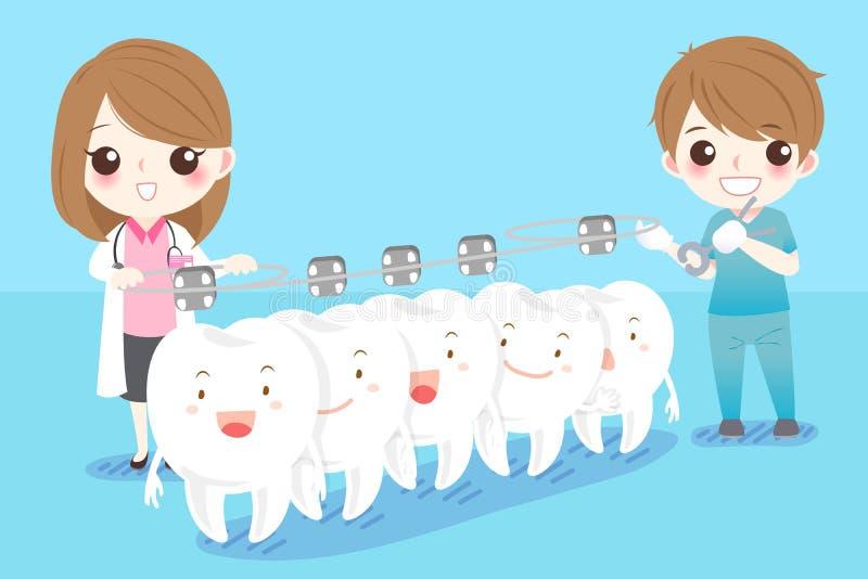 Дантист с белым зубом иллюстрация штока