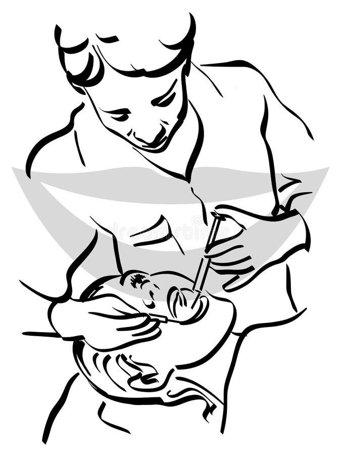 Дантист с пациентом иллюстрация вектора