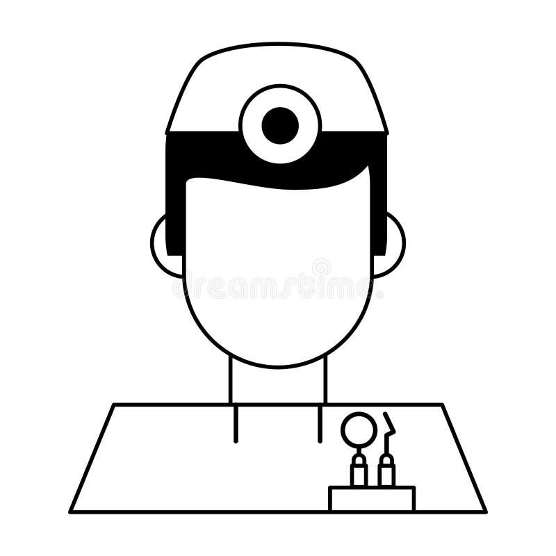 Дантист с профилем воплощения инструментов изолировал черно-белое иллюстрация штока