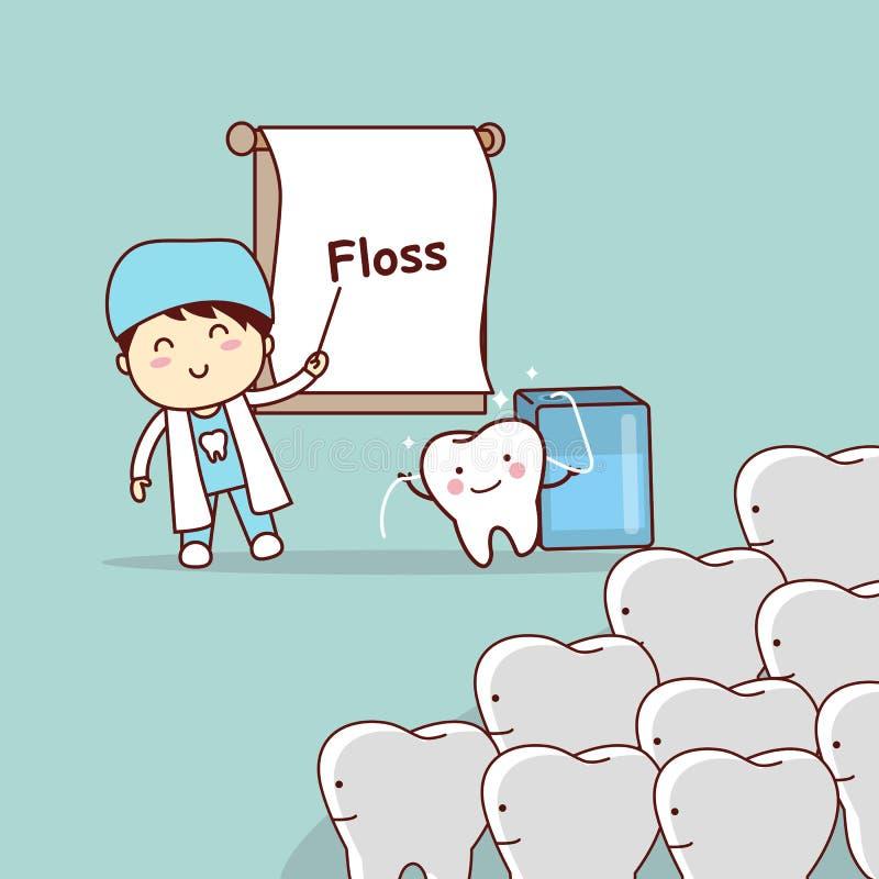 Дантист учит зубочистке пользы зубов иллюстрация вектора