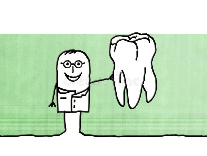 Дантист шаржа с большим зубом бесплатная иллюстрация
