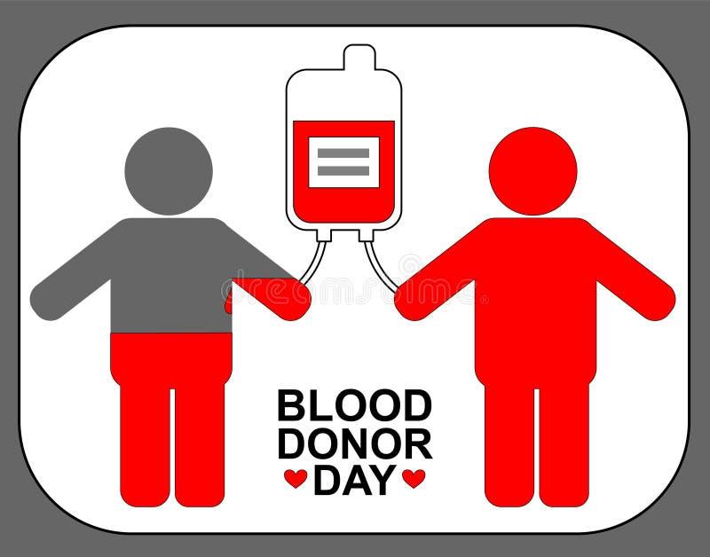 Даритель и получатель с контейнером крови День донора мира логотип трансфузии бесплатная иллюстрация