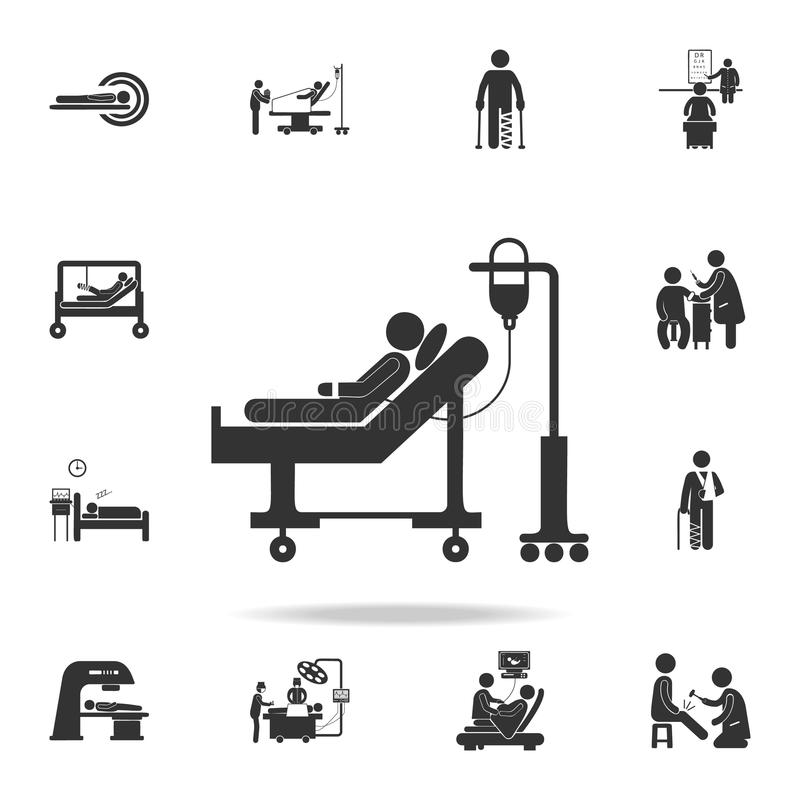 даритель лежит на каталке и значке иллюстрации переливаний крови Детальный комплект иллюстрации элемента медицины Наградное качес иллюстрация вектора
