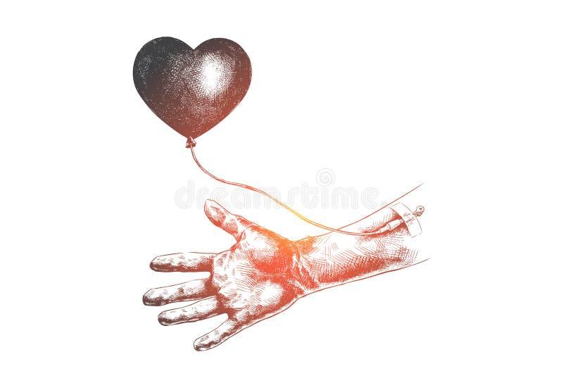 Даритель, пожертвование, кровь, надежда, концепция помощи Вектор нарисованный рукой изолированный иллюстрация вектора