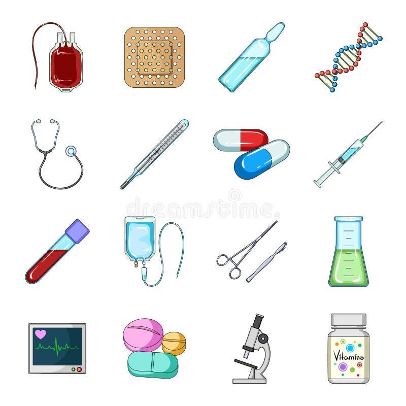 Даритель, гипсолит, вакцина и другая медицинская, оборудование медицины Медицинский, значки собрания медицины установленные в сти иллюстрация вектора
