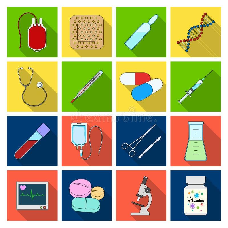 Даритель, гипсолит, вакцина и другая медицинская, оборудование медицины Медицинский, значки собрания медицины установленные в пло иллюстрация штока