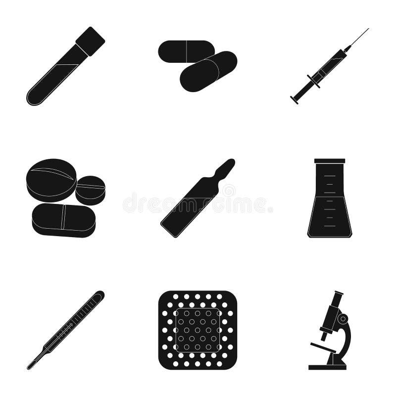 Даритель, гипсолит, вакцина и другая медицинская, оборудование медицины Медицинский, значки собрания медицины установленные в чер иллюстрация вектора