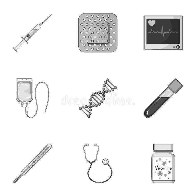 Даритель, гипсолит, вакцина и другая медицинская, оборудование медицины Медицинский, значки собрания медицины установленные в mon бесплатная иллюстрация
