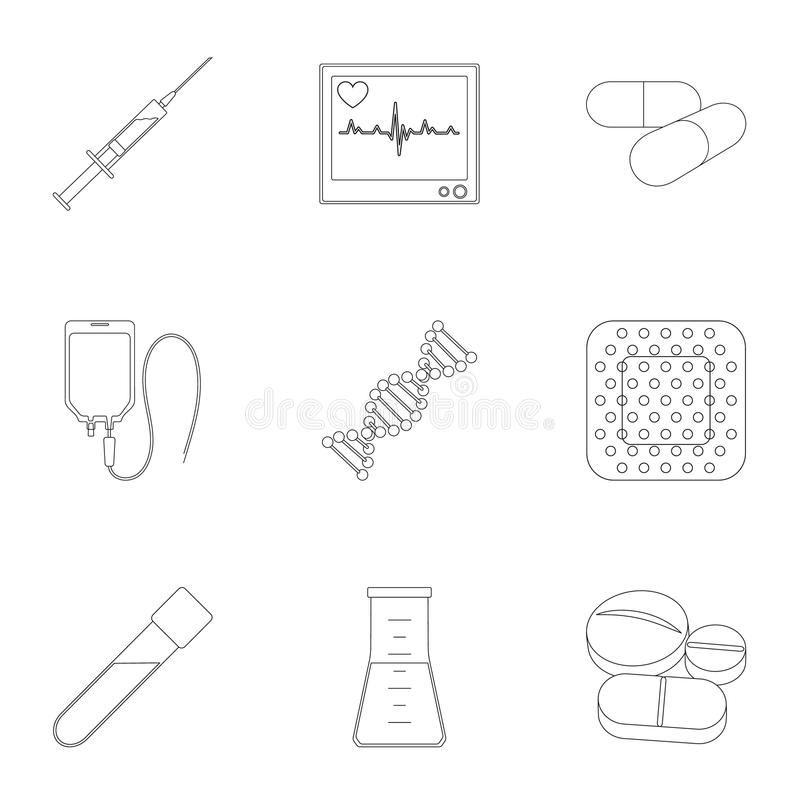 Даритель, гипсолит, вакцина и другая медицинская, оборудование медицины Медицинский, значки собрания медицины установленные в сти иллюстрация штока