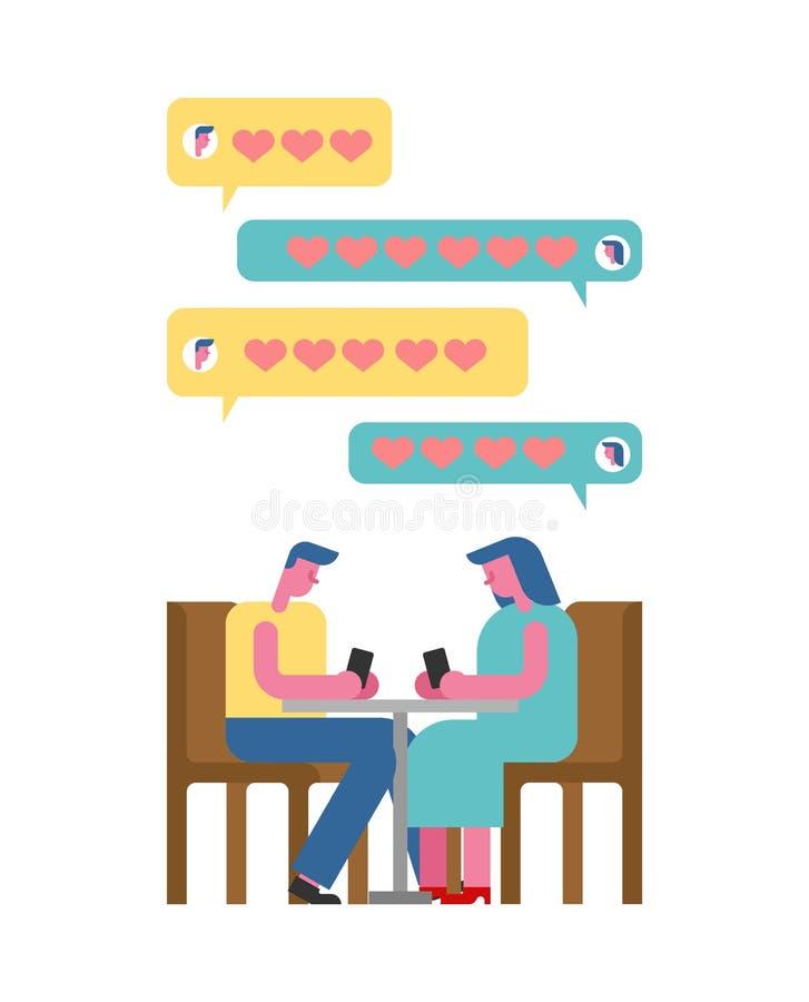 Дата в кафе с телефоном Виртуальный смартфон даты Болтовня влюбленности ren иллюстрация штока
