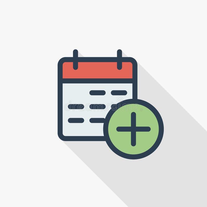 Дата и время, календарь и добавляют линию плоский значок события тонкую цвета Линейный символ вектора Красочный длинный дизайн те иллюстрация штока