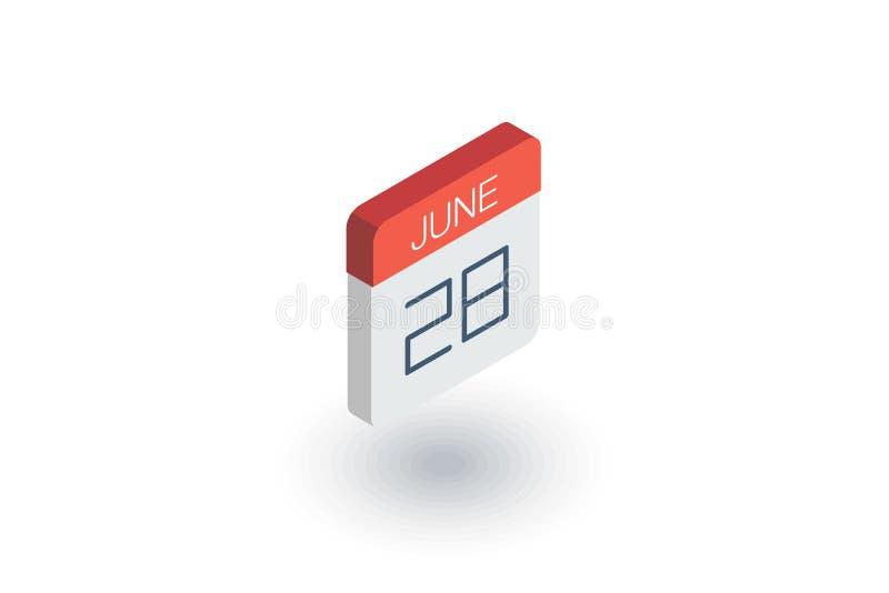 Дата и время, calendar равновеликий плоский значок вектор 3d иллюстрация вектора