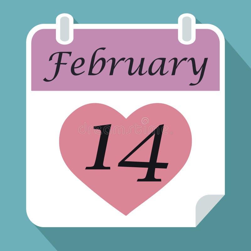 Дата календаря четырнадцатое -го февраль с розовым красным сердцем на голубом ба иллюстрация штока