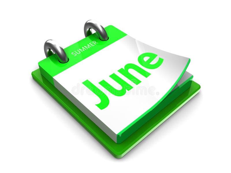 Дата календаря июнь иллюстрация штока